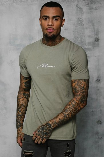 Sage silver grey MAN Signature Embroidered T-Shirt