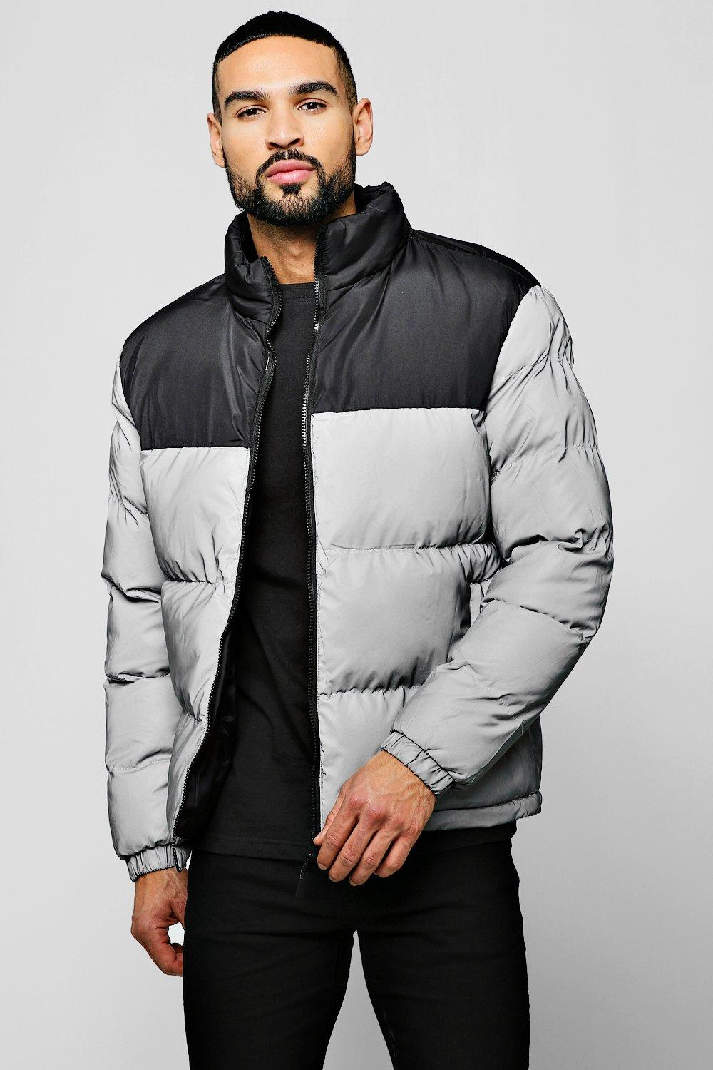 Reflective Puffer Jacket With Contrast Panel   boohoo