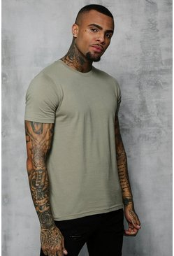 Sage silver grey Basic T-Shirt Met Crewneck