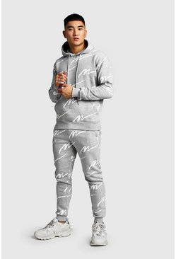 Grey All Over MAN Printed Hooded Tracksuit