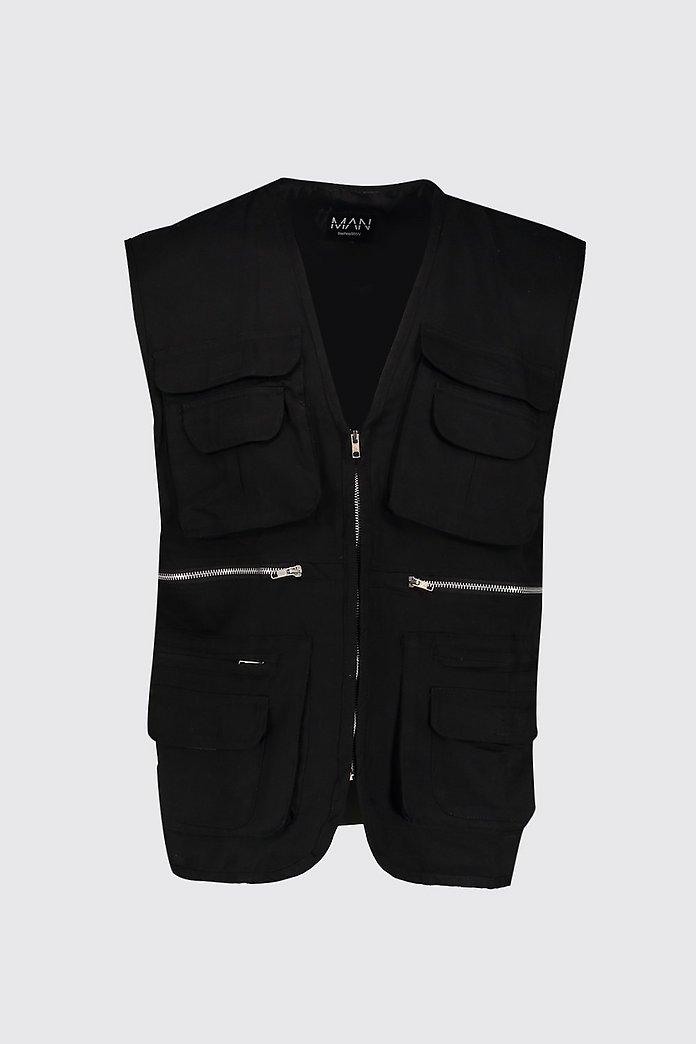 Sleeveless Utility Cotton Vest | boohoo Canada
