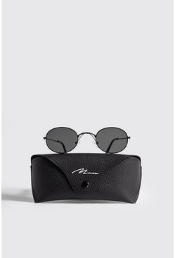 Black MAN Branded Oval Sunglasses With Case