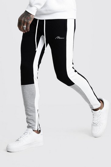 Grey Skinny Fit MAN Colour Block Joggers