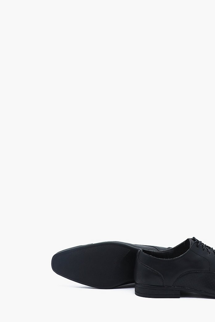 Faux Leather Pin Punch Smart Shoe | boohoo