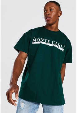 Forest green Oversized Monte Carlo Print T-shirt