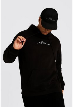 Sudadera con capucha con bordados de marca MAN Big And Tall, Black negro