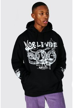 Black Oversized Worldwide Snake Print Hoodie