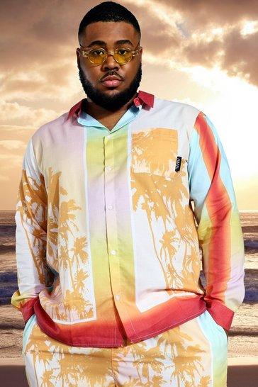 Orange Plus Long Sleeve Viscose Palm Border Shirt