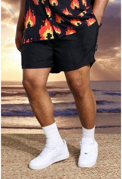 Black Plus Short Length Man Tab Swim Shorts