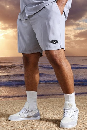 Grey Plus Mid Length Viscose Man Tab Shorts