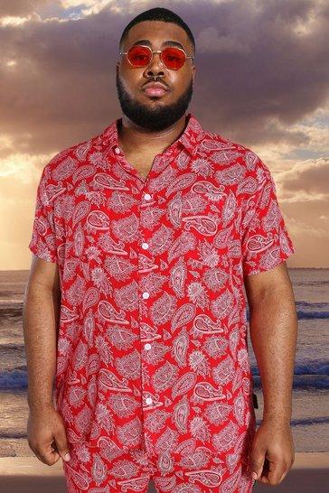 Red Plus Short Sleeve Viscose Paisley Shirt