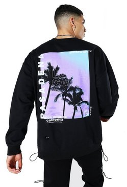 Black Oversized Pasadena Palm Back Print Sweatshirt