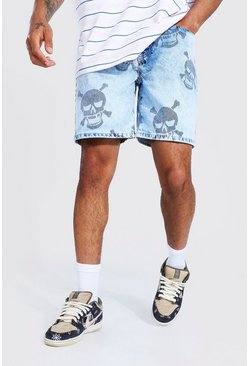 Ice blue Relaxed Fit Skull Aop Jean Short