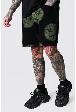 Black Relaxed Fit Aop Trippy Face Denim Short