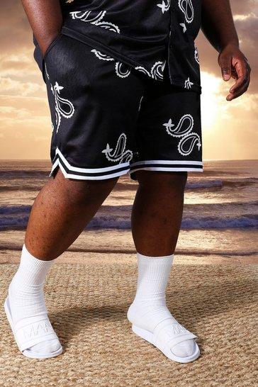Black Plus Mid Mesh Paisley Basketball Shorts