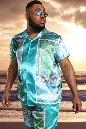 Mint green Plus Satin Short Sleeve Bandana Shirt