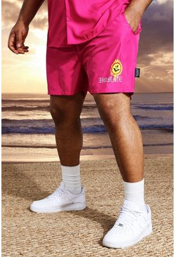 Fushia pink Plus Short Length Homme Print Swim Shorts