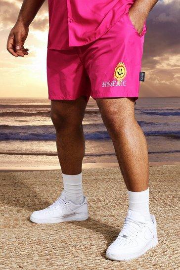 Fushia pink Plus Short Length Homme Print Swim Shorts