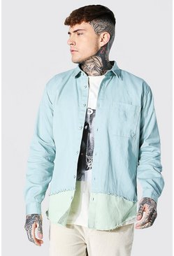 Teal green Spliced Twill Overshirt