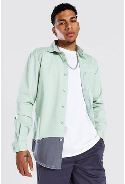 Pale green green Spliced Twill Overshirt