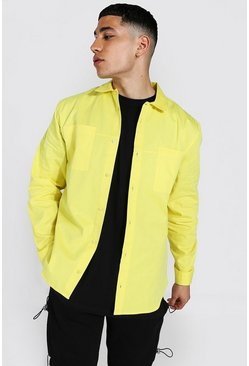 Minimal Plain Twill Overshirt, Yellow gelb