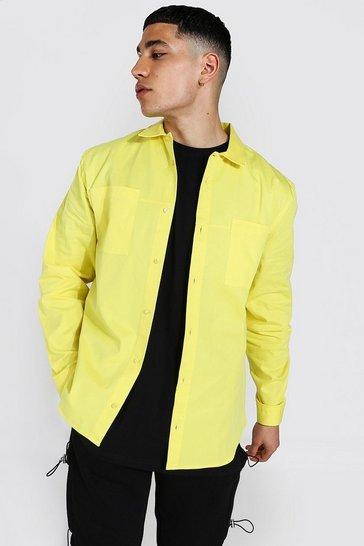 Yellow Minimal Plain Twill Overshirt
