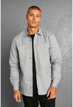 Minimal Plain Twill Overshirt, Grey gris
