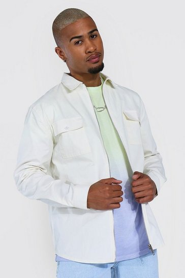 Ecru white Zip Through Twill Overshirt