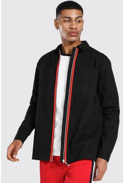 Twill Overshirt With Zip Tape Detail, Black Чёрный