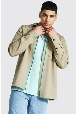Taupe beige Twill Overshirt With Zip Tape Detail