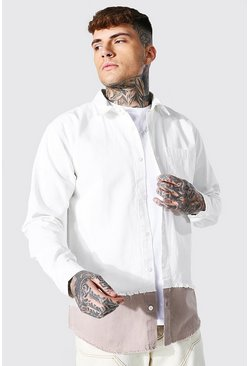 Ecru white Spliced Twill Overshirt