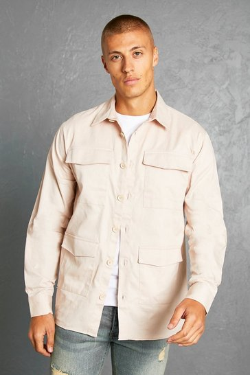 Ecru white Multi Pocket Twill Overshirt