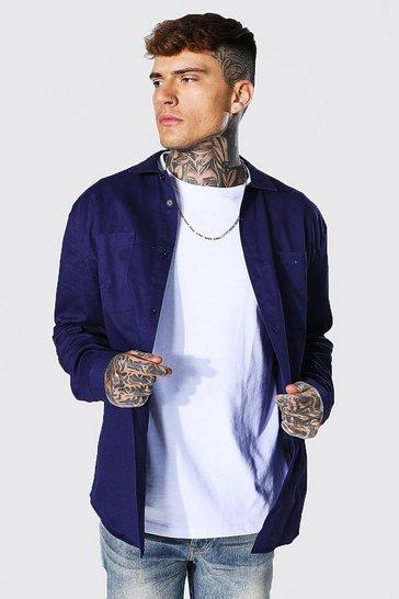 Navy Minimal Plain Twill Overshirt