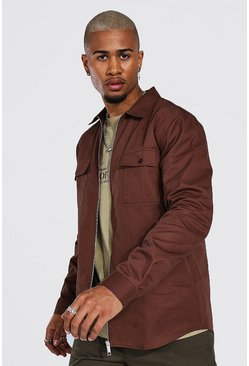 Zip Through Twill Overshirt, Chocolate Коричневый