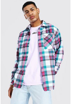Oversized Split Hem Check Shirt, Multi Мульти