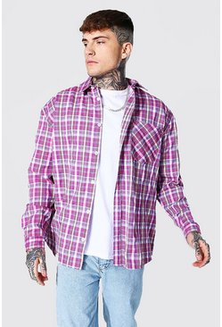 Extreme Oversized Lightweight Check Shirt, Purple viola