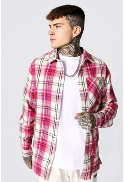 Oversized Split Hem Check Shirt, Pink Розовый