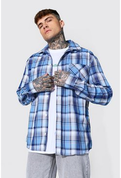 Oversized Lightweight Check Shirt, Blue azul