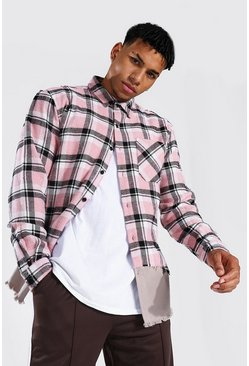 Light pink pink Spliced Check & Twill Overshirt