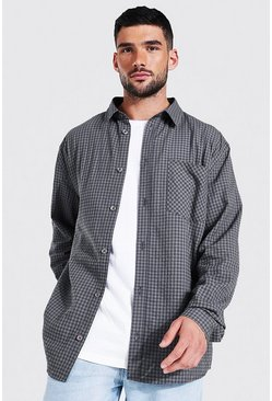 Oversized Seersucker Check Shirt, Grey grigio