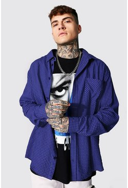 Oversized Seersucker Check Shirt, Blue blau