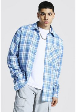 Pale blue blue Oversized Pocket Detail Check Shirt