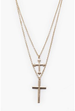 Gold metallic Double Row Cross Necklace