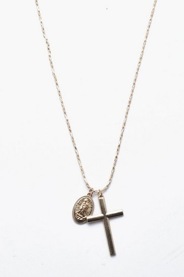Gold metallic Cross And Coin Necklace