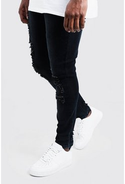 Charcoal grey Big & Tall Distressed Skinny Fit Jeans
