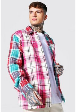 Oversized Spliced Check Shirt, Pink Розовый