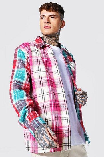Pink Oversized Spliced Check Shirt