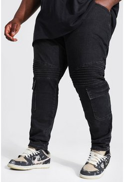 Washed black Plus Skinny Stretch Biker Cargo Jean