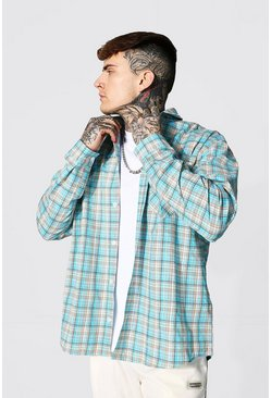 Blue Extreme Oversized Lightweight Check Shirt