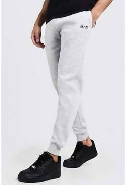 Grey MAN Dash Embroidered Skinny Joggers
